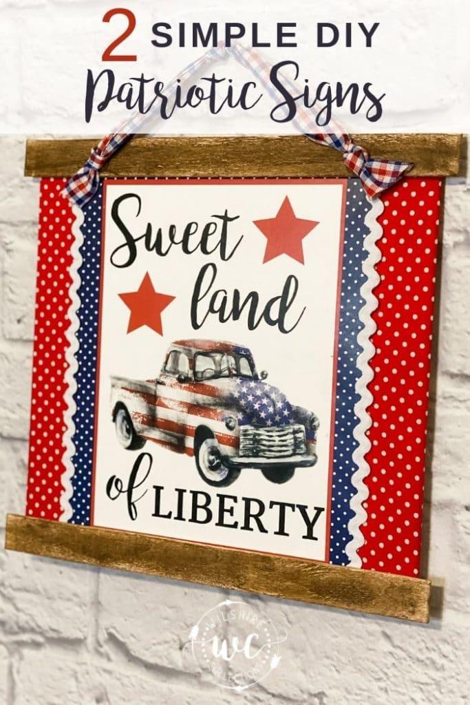 diy sweet land of liberty sign