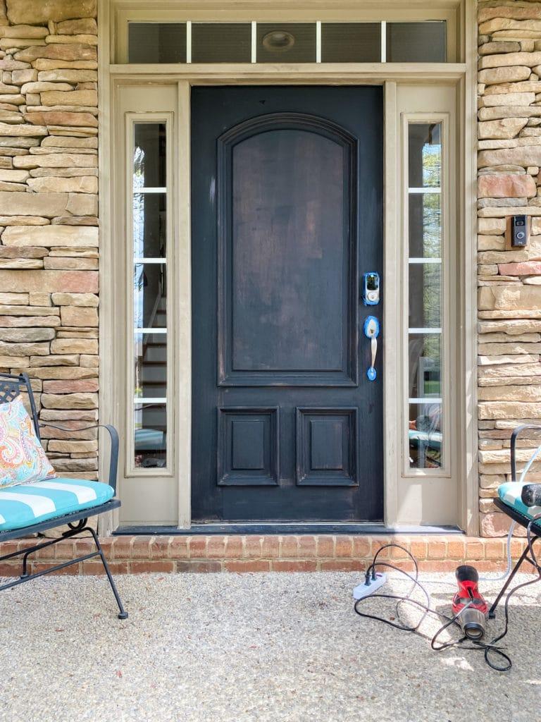 one coat of paint on front door