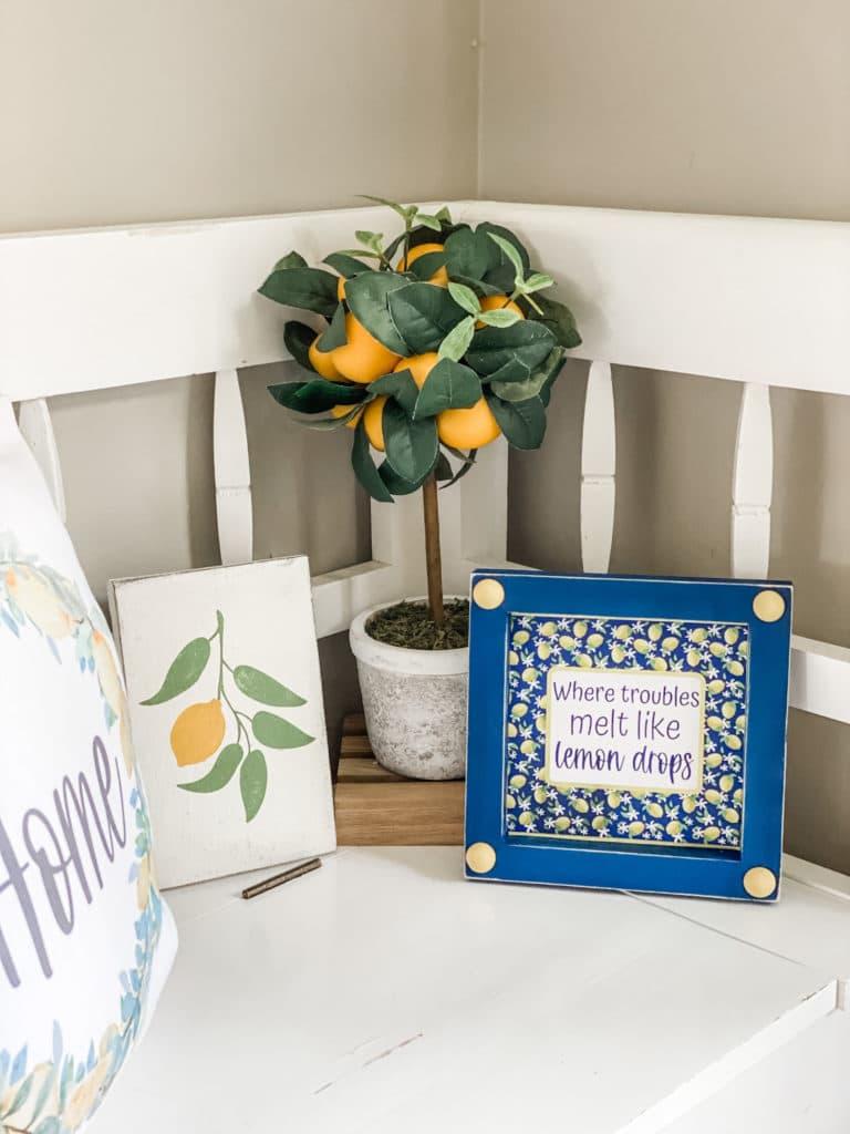 navy and lemon decor