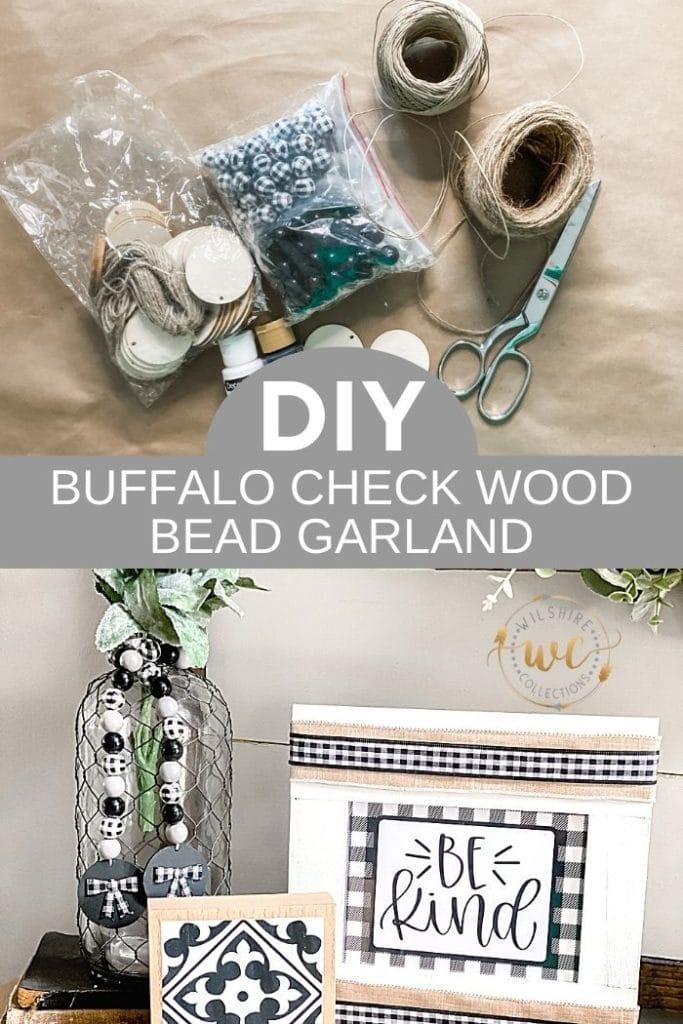Buffalo Check Wood Bead Garland DIY