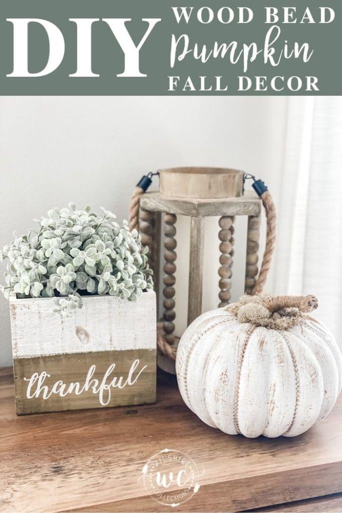 DIY Wood Bead Pumpkin Fall Decor